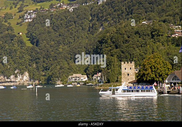 Lake Lucerne luzern Switzerland tour boat castle at Stansstad - Stock Image
