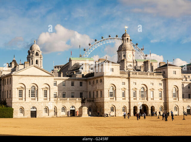 Horseguards Parade with the London Eye in the background, London, England. - Stock Image