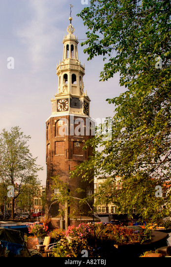 Amsterdam Oude Schans Motelbaan Tower - Stock Image