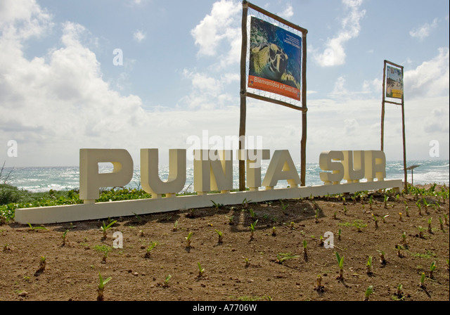 Mexico Cozumel Punta Sur sign - Stock Image