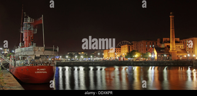 Albert Dock / Red planet  boat at Nighttime liverpool Merseyside England UK - Stock Image
