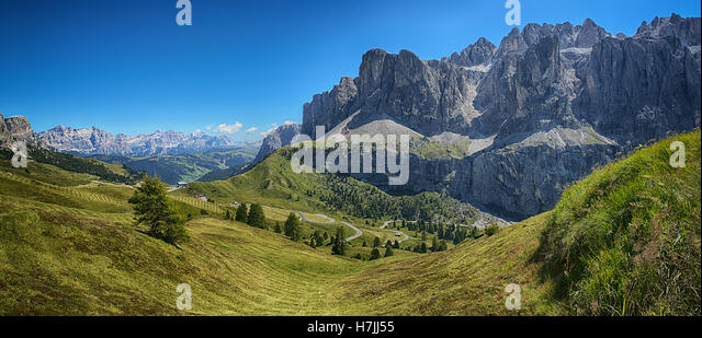 Panoramic view from Dantercepies on the Sella Group and Mountains of Alta Badia, Dolomites - Trentino-Alto Adige, - Stock Image