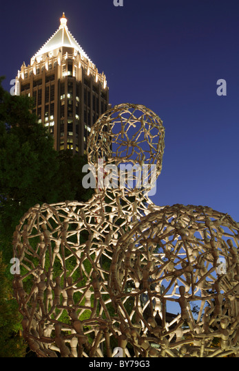 Atlanta Georgia Midtown Peachtree Street Woodruff Arts Center art sculpture Tony Cragg World Events night - Stock Image