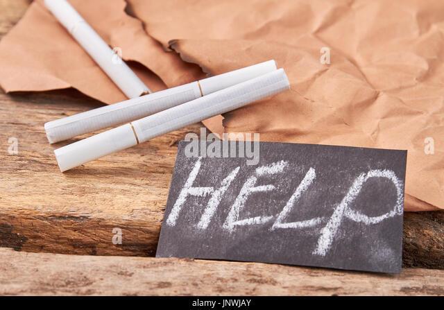 Help to overcome cigarette addiction. - Stock Image