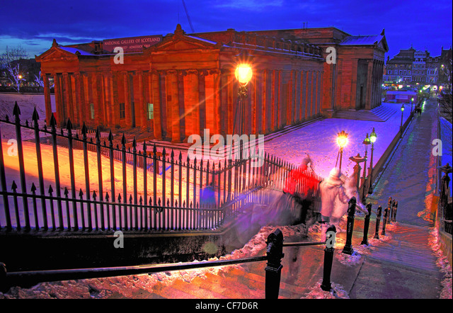 Playfair steps at night, Edinburgh City Centre, Lothians, scotland, UK @Hotpixuk - Stock Image