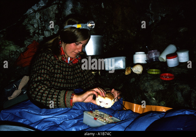 Bivouacked in a cave in the French Alps, France - Stock Image