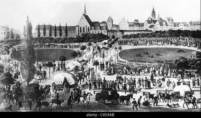 Exhibition traffic before the city of Leipzig, 1850 - Stock-Bilder