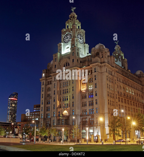 Pier Head Liver Building at dusk Liverpool Merseyside England UK - Stock Image