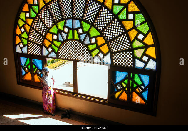 Small girl at Gaddafi National Mosque, Kampala, Uganda - Stock Image