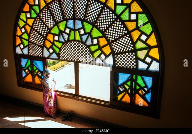 Small girl at Gaddafi National Mosque, Kampala, Uganda - Stock Image