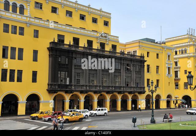 street scene plaza de Armas colonial building Lima Peru - Stock Image