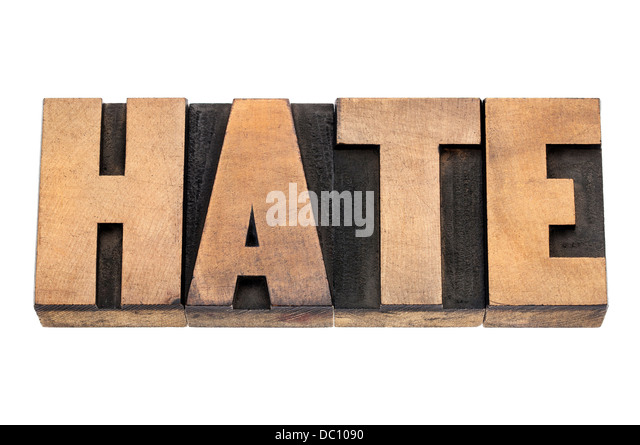 hate word - isolated text in vintage letterpress wood type - Stock Image
