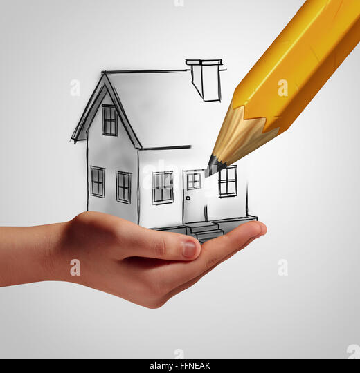Dream home concept as a hand holding a drawing of a family house that is being drawn by a pencil as a real estate - Stock Image