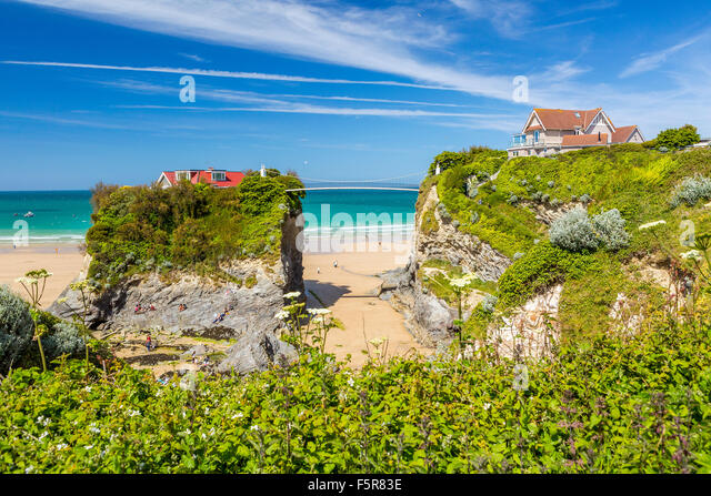 Towan Beach, Newquay, Cornwall, England, United Kingdom, Europe. - Stock Image