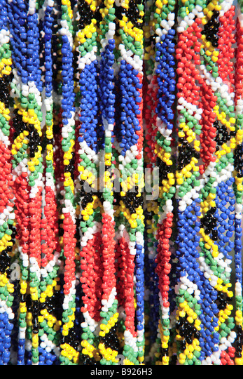 African Beaded necklaces in colours of South African flag Grahamstown Eastern Cape Province South Africa - Stock Image