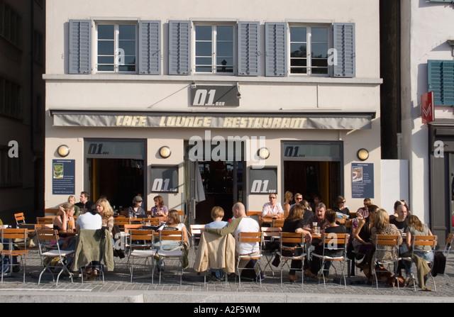 Zuerich Cafe Lounge 01 bar Limmatqaui street cafe - Stock Image