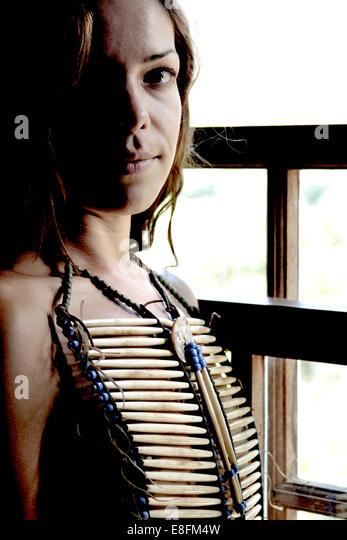 Portrait of woman in costume jewelry - Stock-Bilder