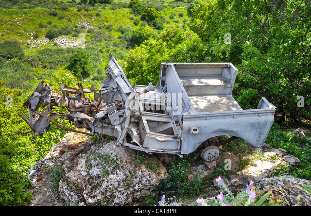 Wreckage of an all-terrain vehicle as a memorial to the Six Day War, Banyas, Banias or Banjas Nature Reserve, Israel - Stock Image