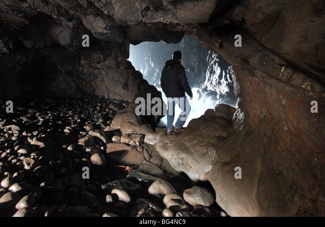 Portcoon cave, Giant's Causeway, County Antirm - Stock Image