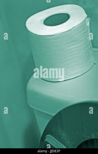 spare toilet roll on toilet cistern - Stock Image