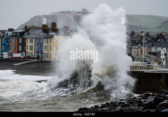 Aberystwyth, Wales, UK. 17th November, 2015. UK Weather:   The second named storm of the season - Storm Barney  - Stock Image
