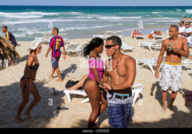 Teenager dancing at Playa del Este, Santa Maria Del Mar, near Havanna Cuba - Stock Image