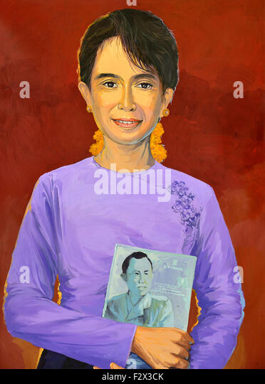 Painting of Aung San Suu Kyi famous for her non-violent struggle for democracy and human rights for Myanmar and - Stock-Bilder