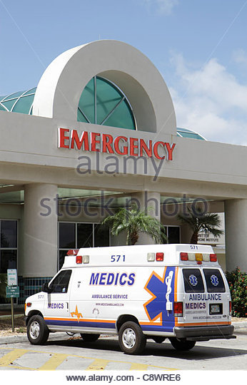 Miami Beach Florida Mount Mt. Sinai Medical Center centre hospital health care emergency entrance ambulance medical - Stock Image