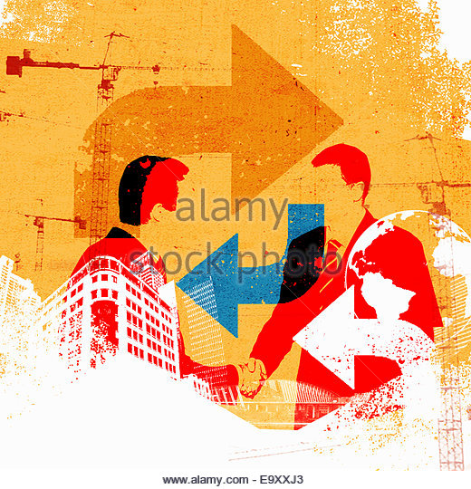 Collage with globe, businessmen shaking hands and city development - Stock Image