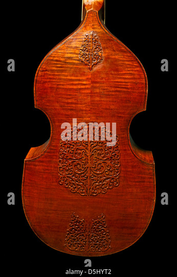 Rear view of a seven-string bass viola da gamba with inlaid fingerboard and tailpiece - Stock Image
