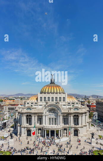 Aerial morning view of the Palace of Fine Arts, Cathedral of Art in Mexico City - Stock Image