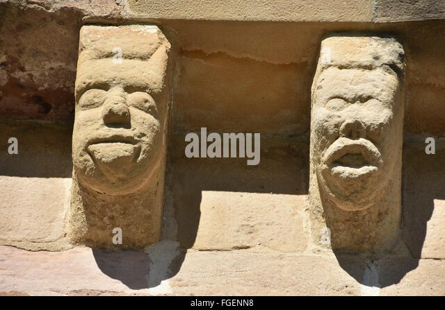 two corbels chapel of Eunate Navarra Spain - Stock Image