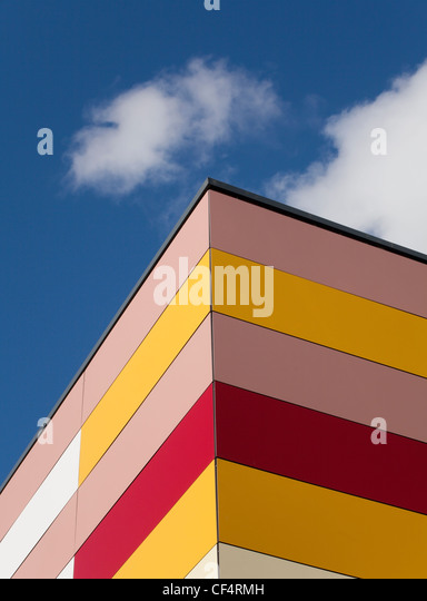 Colourful exterior of a building at Durham Johnston School. - Stock Image