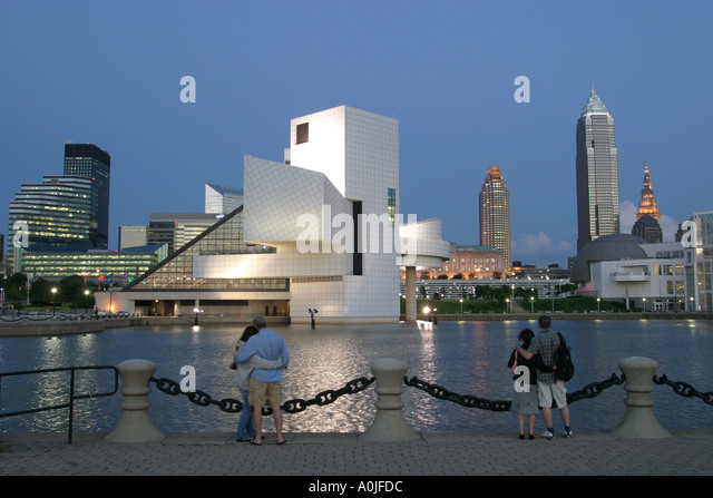 Cleveland Ohio Lake Erie Voinovich Park Rock and Roll Hall of Fame skyline dusk - Stock Image