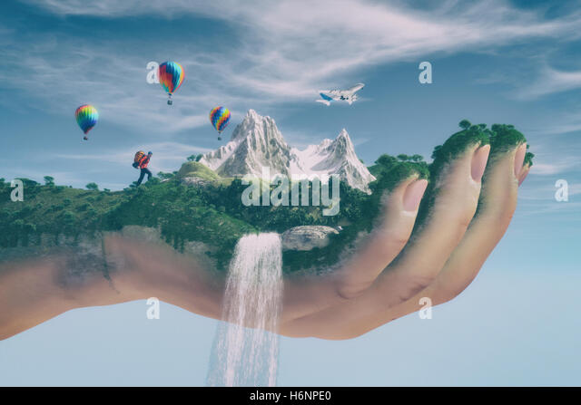 Conceptual image of a mountain landscape held by a hand, flowing water cascading and tourist hiking . Ecology concept. - Stock Image