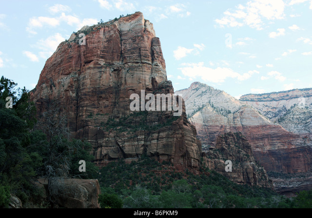 View of the top of Angel's Landing from the West Rim Trail, Zion - Stock Image