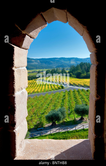 View through castle window at Castello di Amorosa. Napa Valley, California. Property released - Stock Image