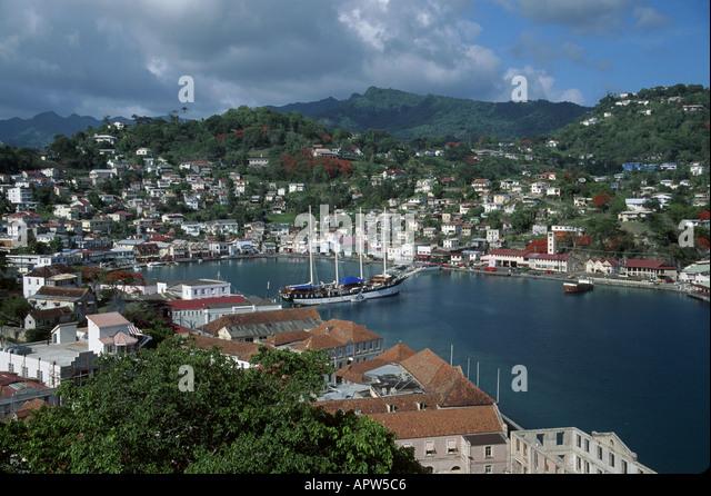 Grenada St. George's Carenage Harbor Fort George view SV Fantome - Stock Image