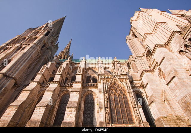 Gothic architecture on Chartres Cathedral, UNESCO World Heritage Site, Chartres, Eure-et-Loir, Centre, France, Europe - Stock Image