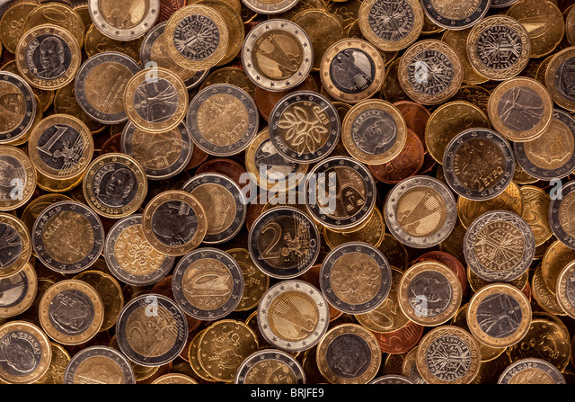Various backsides of euro coins - Stock Image