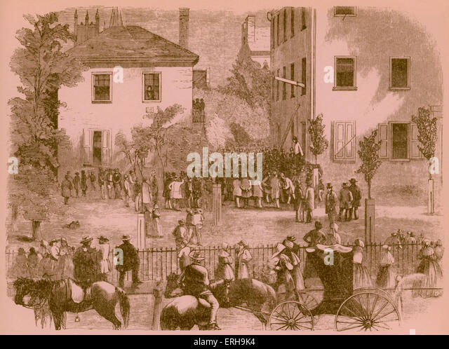 19th century lynching at a Kentucky courthouse. Artist unknown, 1860s. - Stock-Bilder