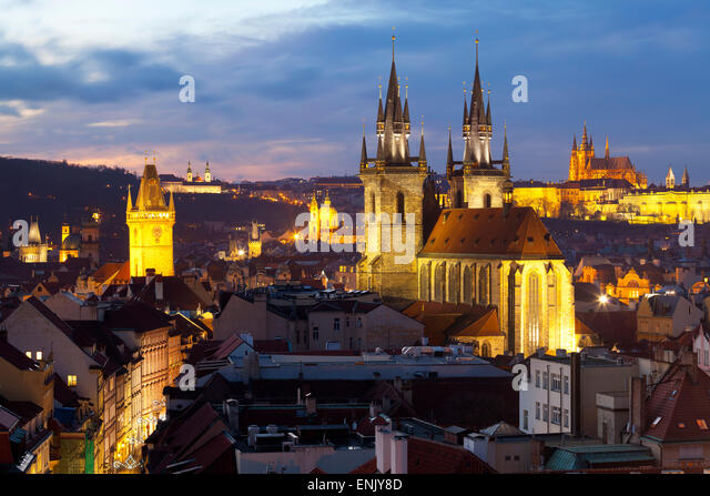 Overview of the Historic Centre at sunset, Prague, Czech Republic, Europe - Stock Image
