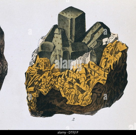 Plate 10, fig 2 from Mineralienbuch - Stock Image