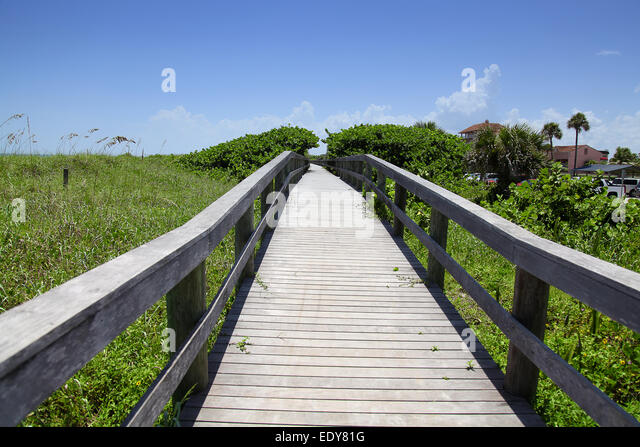 Wooden sidewalk,florida,cocoa beach,orlando florida - Stock Image