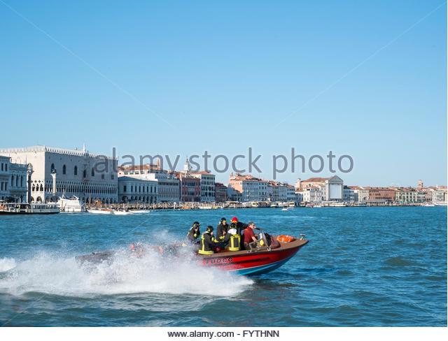 Fire boat answering call, Venice, Italy, April. - Stock-Bilder