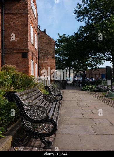Benches outside Nottingham Castle and next to the Ye Olde Trip to Jerulsalem pub. Nottingham, United Kingdom. - Stock Image