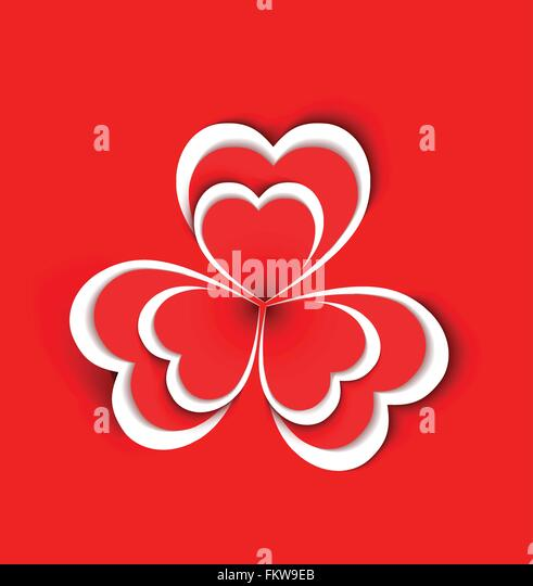 Conceptual flower shape made from paper hearts shape on red background - Stock-Bilder