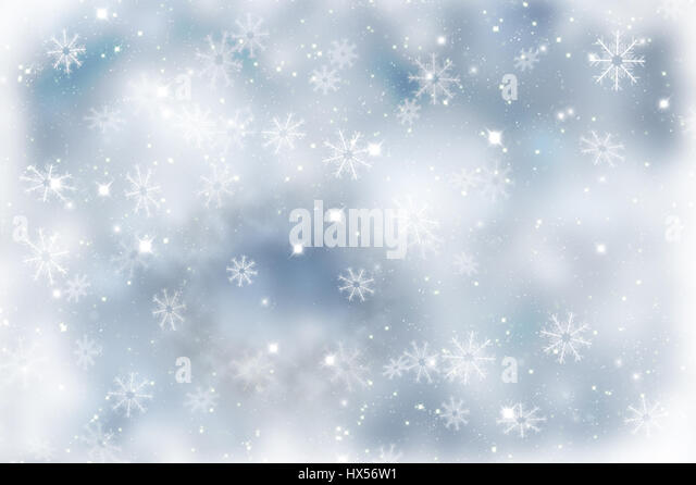 Sparkly Christmas background with snowflakes and stars - Stock Image
