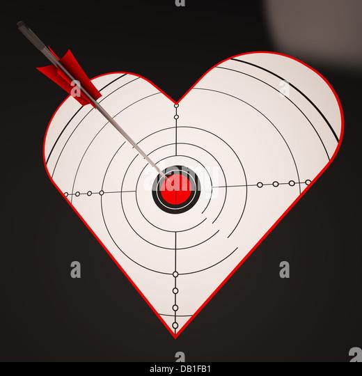 Heart Target Shows Successful Winner In Love - Stock-Bilder