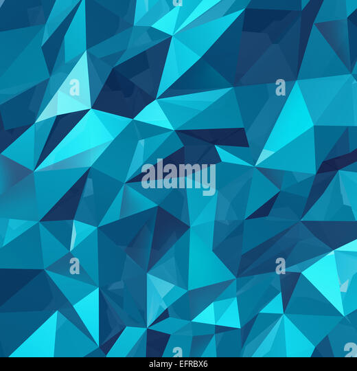 Geometric triangle wall background as a blue abstract crystal pattern of three dimensional shapes. - Stock Image